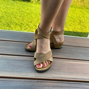 Cognac oiled leather Papillio Lola sandals size 8
